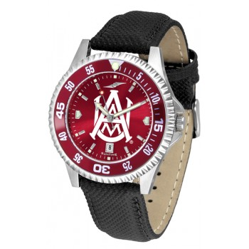 Alabama A&M University Bulldogs Mens Watch - Competitor Anochrome Colored Bezel Poly/Leather Band