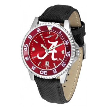 University Of Alabama Crimson Tide Mens Watch - Competitor Anochrome Colored Bezel Poly/Leather Band