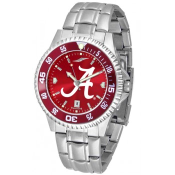 University Of Alabama Crimson Tide Mens Watch - Competitor Anochrome - Colored Bezel - Steel Band