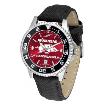 University Of Arkansas Razorbacks Mens Watch - Competitor Anochrome Poly/Leather Band