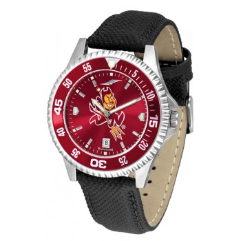 Arizona State University Sun Devils Mens Watch - Competitor Anochrome Colored Bezel Poly/Leather Band