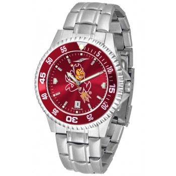 Arizona State University Sun Devils Mens Watch - Competitor Anochrome - Colored Bezel - Steel Band