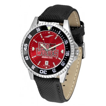 Arkansas State University Red Wolves Mens Watch - Competitor Anochrome Colored Bezel Poly/Leather Band