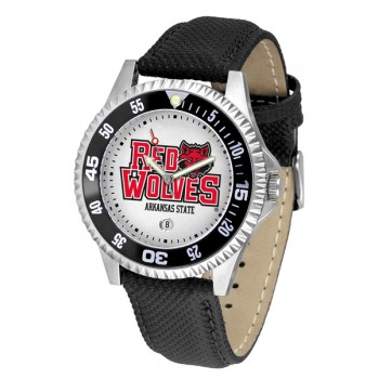 Arkansas State University Red Wolves Mens Watch - Competitor Poly/Leather Band