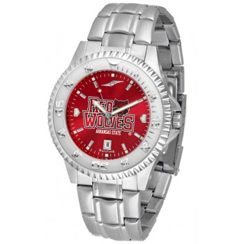 Arkansas State University Indians Mens Watch - Competitor Anochrome Steel Band