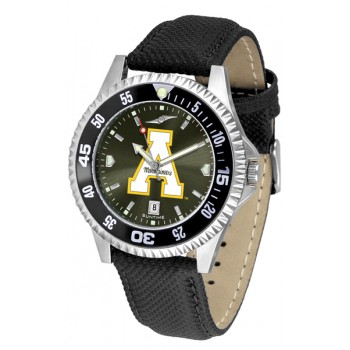 Appalachian State University Mountaineers Mens Watch - Competitor Anochrome Colored Bezel Poly/Leather Band