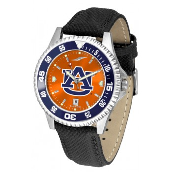 Auburn University Tigers Mens Watch - Competitor Anochrome Colored Bezel Poly/Leather Band