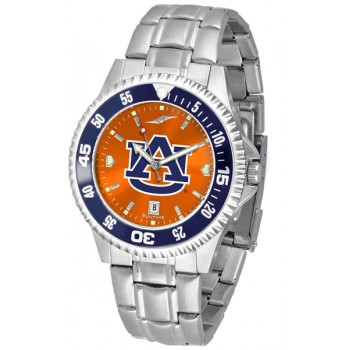 Auburn University Tigers Mens Watch - Competitor Anochrome - Colored Bezel - Steel Band
