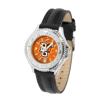 Bowling Green State University Falcons Ladies Watch - Competitor Anochrome Poly/Leather Band