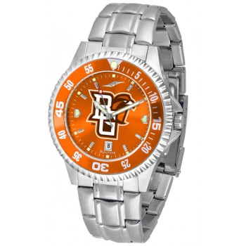 Bowling Green State University Falcons Mens Watch - Competitor Anochrome - Colored Bezel - Steel Band