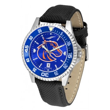 Boise State University Broncos Mens Watch - Competitor Anochrome Colored Bezel Poly/Leather Band