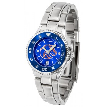Boise State University Broncos Ladies Watch - Competitor Anochrome - Colored Bezel - Steel Band
