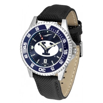 Brigham Young University Cougars Mens Watch - Competitor Anochrome Colored Bezel Poly/Leather Band