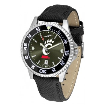 University Of Cincinnati Bear Cats Mens Watch - Competitor Anochrome Colored Bezel Poly/Leather Band