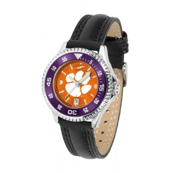 Clemson University Tigers Ladies Watch - Competitor Anochrome Colored Bezel Poly/Leather Band