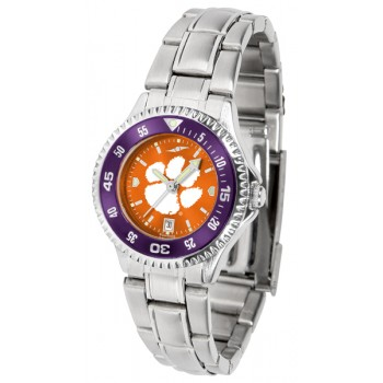 Clemson University Tigers Ladies Watch - Competitor Anochrome - Colored Bezel - Steel Band