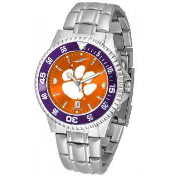 Clemson University Tigers Mens Watch - Competitor Anochrome - Colored Bezel - Steel Band