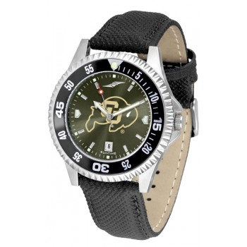 University Of Colorado Buffaloes Mens Watch - Competitor Anochrome Colored Bezel Poly/Leather Band
