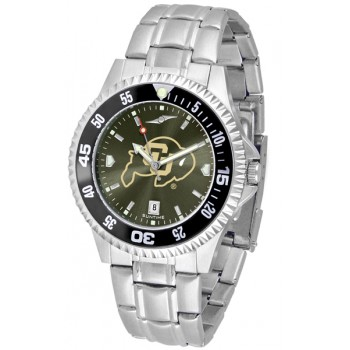 University Of Colorado Buffaloes Mens Watch - Competitor Anochrome - Colored Bezel - Steel Band