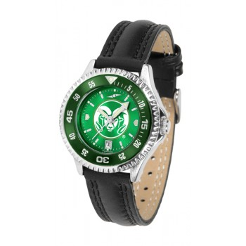 Colorado State University Rams Ladies Watch - Competitor Anochrome Colored Bezel Poly/Leather Band