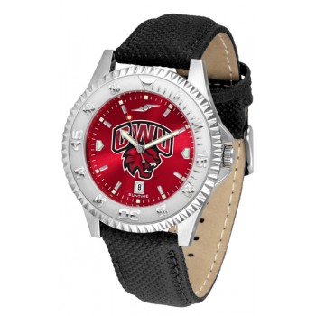 Central Washington University Wildcats Mens Watch - Competitor Anochrome Poly/Leather Band