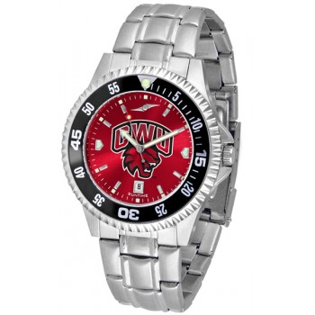 Central Washington University Wildcats Mens Watch - Competitor Anochrome - Colored Bezel - Steel Band