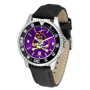East Carolina University Pirates Mens Watch - Competitor Anochrome Colored Bezel Poly/Leather Band