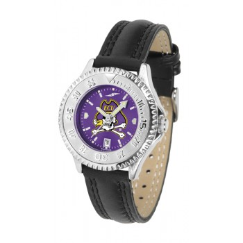 East Carolina University Pirates Ladies Watch - Competitor Anochrome Poly/Leather Band