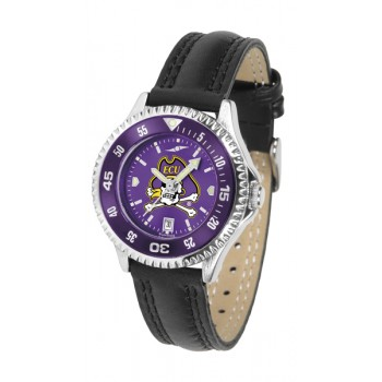 East Carolina University Pirates Ladies Watch - Competitor Anochrome Colored Bezel Poly/Leather Band