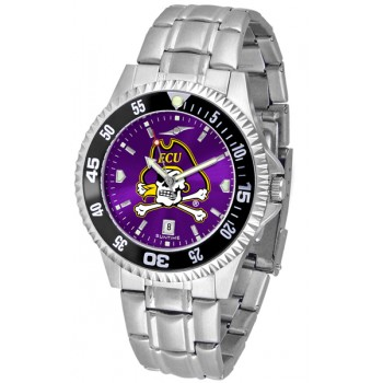 East Carolina University Pirates Mens Watch - Competitor Anochrome - Colored Bezel - Steel Band