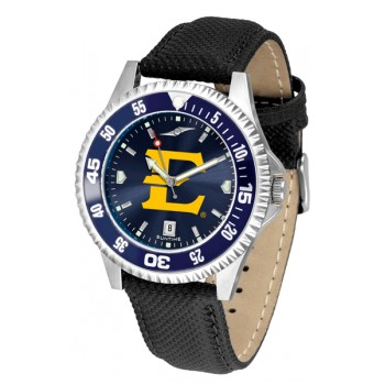 East Tennessee State University Buccaneers Mens Watch - Competitor Anochrome Colored Bezel Poly/Leather Band