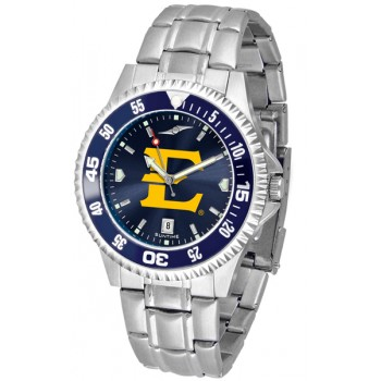 East Tennessee State University Buccaneers Mens Watch - Competitor Anochrome - Colored Bezel - Steel Band