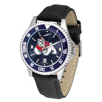 Fresno State Bulldogs Mens Watch - Competitor Anochrome Colored Bezel Poly/Leather Band