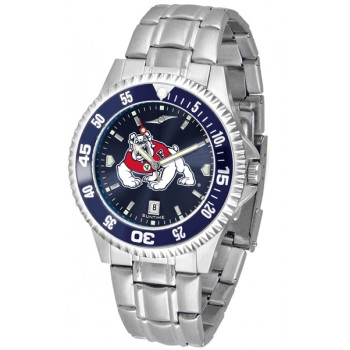 Fresno State Bulldogs Mens Watch - Competitor Anochrome - Colored Bezel - Steel Band