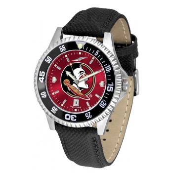 Florida State University Seminoles Mens Watch - Competitor Anochrome Colored Bezel Poly/Leather Band