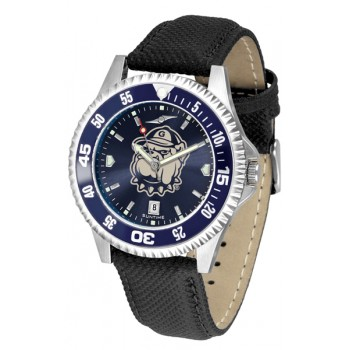 Georgetown University Hoyas Mens Watch - Competitor Anochrome Colored Bezel Poly/Leather Band