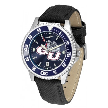 Gonzaga University Bulldogs Mens Watch - Competitor Anochrome Colored Bezel Poly/Leather Band