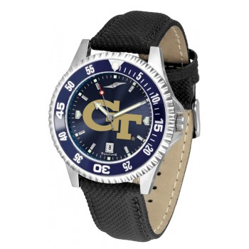 Georgia Institute Of Technology Yellow Jackets Mens Watch - Competitor Anochrome Colored Bezel Poly/Leather Band
