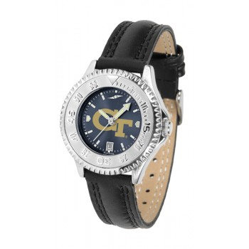 Georgia Institute Of Technology Yellow Jackets Ladies Watch - Competitor Anochrome Poly/Leather Band