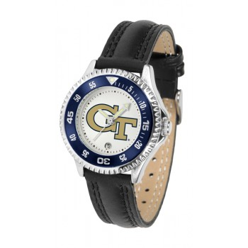 Georgia Institute Of Technology Yellow Jackets Ladies Watch - Competitor Poly/Leather Band