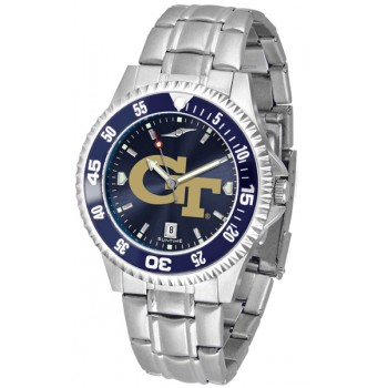Georgia Institute Of Technology Yellow Jackets Mens Watch - Competitor Anochrome - Colored Bezel - Steel Band