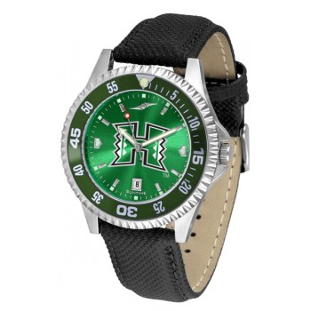 University Of Hawaii Mens Watch - Competitor Anochrome Colored Bezel Poly/Leather Band
