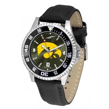University Of Iowa Hawkeyes Mens Watch - Competitor Anochrome Colored Bezel Poly/Leather Band