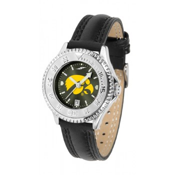University Of Iowa Hawkeyes Ladies Watch - Competitor Anochrome Poly/Leather Band