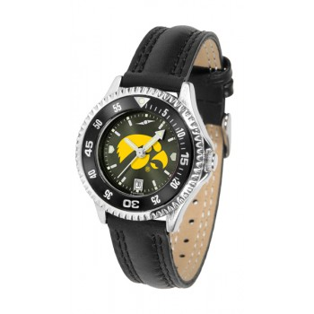 University Of Iowa Hawkeyes Ladies Watch - Competitor Anochrome Colored Bezel Poly/Leather Band