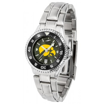 University Of Iowa Hawkeyes Ladies Watch - Competitor Anochrome - Colored Bezel - Steel Band