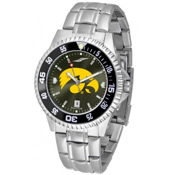 University Of Iowa Hawkeyes Mens Watch - Competitor Anochrome - Colored Bezel - Steel Band
