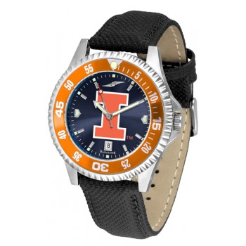 Illinois Fighting Illini Mens Watch - Competitor Anochrome Colored Bezel Poly/Leather Band