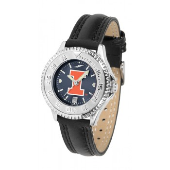 Illinois Fighting Illini Ladies Watch - Competitor Anochrome Poly/Leather Band