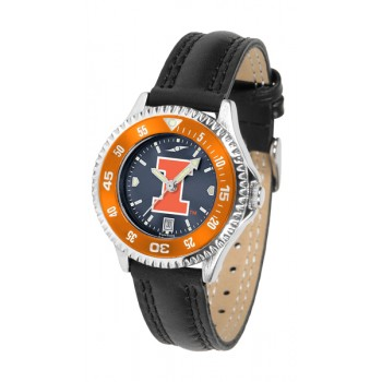 Illinois Fighting Illini Ladies Watch - Competitor Anochrome Colored Bezel Poly/Leather Band